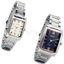 Luxury Stainless Steel Square Dial Mens Womens Couple Analog Quartz Wrist Watch