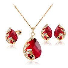 Peacock Crystal Pendant Women's Gift Necklace+Earrings+Ring Fashion Jewelry Set