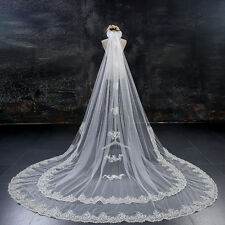 Two Layered 3M 4M 5M 6M White/Ivory Tulle Applique Edge Wedding Veil With Comb