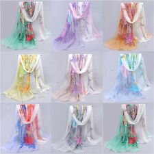 Womens Lady Chiffon Floral pattern scrawl Long Soft Wrap Shawl Scarf Scarves HG