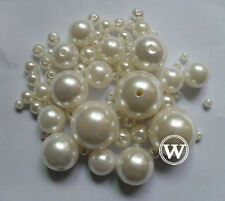 Round ABS Imitation Loose Pearls Gems Beads Decoration DIY Multi Sizes Ivory