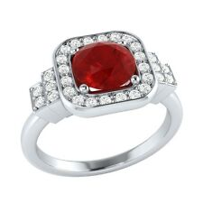 1.05 ct Natural Red Ruby & Certified Diamond Solid Gold Engagement Ring