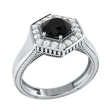 0.75 ct Natural Black Spinel & Certified Diamond Solid Gold Engagement Ring