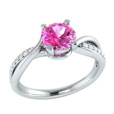 0.70 ct Natural Pink Sapphire & Certified Diamond Solid Gold Engagement Ring