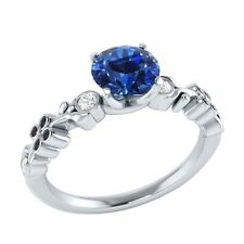 0.69 ct Natural Blue Sapphire & Certified Diamond Solid Gold Engagement Ring