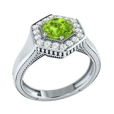 0.75 ct Natural Green Peridot & Certified Diamond Solid Gold Engagement Ring