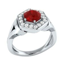 0.80 ct Natural Red Ruby & Certified Diamond Solid Gold Engagement Ring