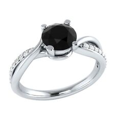 0.70 ct Natural Black Spinel & Certified Diamond Solid Gold Engagement Ring