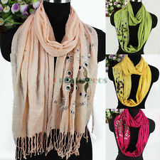 Fashion Vintage Hollow Out Geometric Rivet With Tassel Long Scarf/Infinity Scarf
