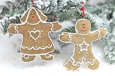 GISELA GRAHAM CHRISTMAS RESIN GINGERBREAD MAN BOY GIRL DECORATION