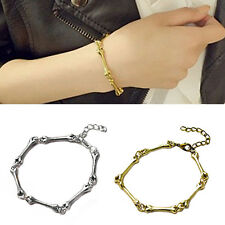 Women's Gothic Punk Cool Simple Bone Alloy Bangle Bracelet Jewelry Gift Refined