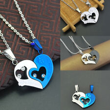 Stainless Steel Lover 1 Pair Necklace I Love You Heart Pendant Chain Sweet Gift