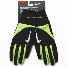 NIKE WOMENS STORM-FIT 2.0 TECH RUNNING GLOVES,NWT,BLACK/NEON YELLOW&SILVER,NWT