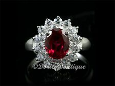 Gorgeous Red Oval Ruby CZ 925 Sterling Silver Solitaire Ring .925 Jewelry SZ 5-7