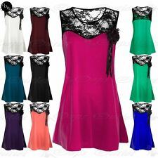 Ladies Womens Smock Sleeveless Mini Dress Corsage Flower Lace Broach Insert Top