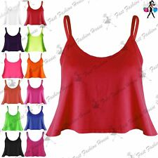 Ladies Womens Plain Strap Thin Franki Flared Swing Camisole Shirt Vest Crop Top