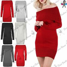 Womens Ribbed Ruffle Frill Off Shoulder Jumper Ladies Knitted Sweater Mini Dress