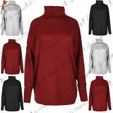 Womens Ladies Cowl Knitted High Neck Batwing Oversized Sweater Cuff Jumper Top