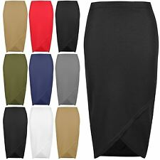 Womens Wrap Over Skirt Side Ruched Waffle Fabrics Cross Pencil Fit Midi Skirt