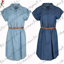 Womens Ladies Short Sleeve Denim Collared Ruched Belted Turn Up Shirt Dress Top