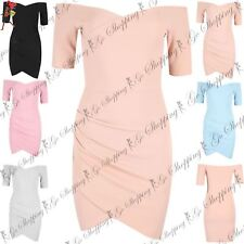 Ladies Womens Off The Shoulder Bardot Drape Bandage Wrap Over Mini Bodycon Dress