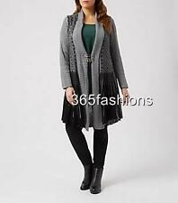 SAMYA PLUS SIZE SEQUIN STRIPED KNITTED CARDIGAN TOP GREY 16 18