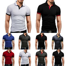 New Men's Stylish Short Sleeve Casual Slim POLO Shirt T-shirts Tee Tops M-XXL