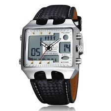 White with Black OHSEN Digital LCD Lamp Analog Dual Time Mens Sport Wrist Watch