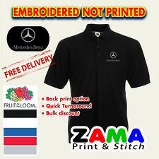 MERCEDES LOGO EMBROIDERED FRUIT OF THE LOOM POLO SHIRT 5 COLORS S - XXL