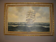 Marine Large Oil on Canvas Painting CLIPPER SAILING SHIP MARITIME SEASCAPE