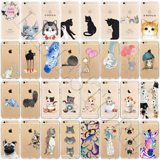 Hot Cat Animal Pattern Soft TPU Silicone Back Case Cover For iPhone 7 6 6s Plus