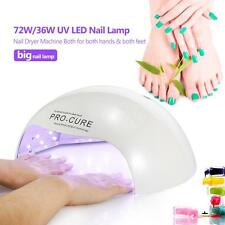 Fashion 72W/36W Big UV LED Nail Lamp Curing Nail Gel Manicure/Pedicure Y5D6