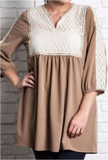 XL 1X 2X UMGEE Babydoll Lace Tunic or Mini Dress-Plus Size-Taupe