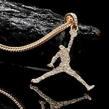 """Air Jordan Iced Out GP Pendant/Necklace With 24"""" Franco Snake Chain"""