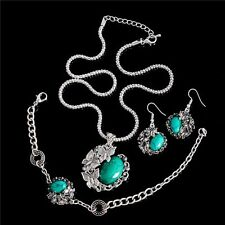 Vintage Silver Butterfly Peacock Turquoise Jewelry Set Bracelet Earring Necklace