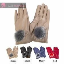LADIES NEW FAUX FUR POM POM FAUX LEATHER WINTER STYLISH GLOVES