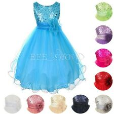 Girls Sequin Dress Flower Girl Dress Bridesmaid Birthday Party Dress Size 2 to14