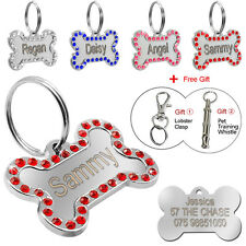 Stainless Steel Bling Bone Custom Dog Tags Engraved Pet ID Tag Engraved for Free