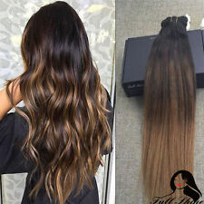 Full Head Dip Dye Ombre Balayage Darker Brown Clip In Remy Human Hair Extensions