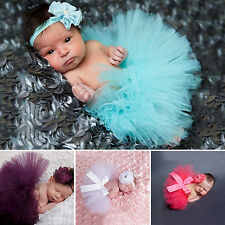 Toddler Baby Girl Tutu Skirt + Flower Headband Photo Prop Costume Outfit Adroit
