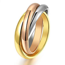 Ring Gold Silver Tone Rose-gold 3 Colors Band Ring Décor Gifts Stainless Steel