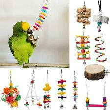 Pet Bird Bite Chew Play Toy Cage Budgie Hanging Swing Bell Stand Toy Various TOY