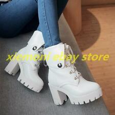 Fashion Punk New Womens Studded High Heels Platform Lace-up Ankle Boots Shoes