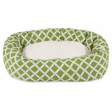 Majestic Pet Bamboo Print Bagel Pet Bed with Sherpa Cushion, Sage