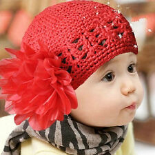 Baby Toddler Beanie Hat Flower Hand Crochet Knit Cap Kids Girls Winter Fantastic