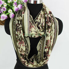 Women Vintage Floral Print Polyester Soft Long/Infinity Scarf Ladies Scarves New
