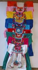 Traditional Mexican Girls Dress Embroidered Multi Color Flowers Dress SZ 6M-4T