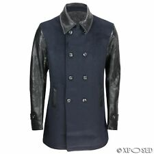 Mens Navy Double Breasted Black Faux Leather Sleeves Slim Fit Overcoat Jacket
