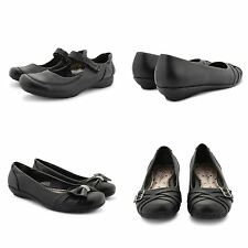NEW GIRLS WOMENS BLACK SLIP ON SCHOOL SHOES SMART COMFY FLAT BALLET PUMPS SIZE
