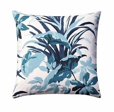 Bermuda Bay Pool Pillow, Leaves Toss Pillow, Blue White Decorative Throw Pillow